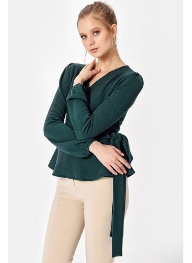 Jument Milano Simli Anvelop Volanlı Bağcıklı Bluz Yeşil